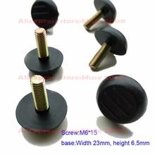 M6 * 15 المسمار على قدم وسادة الساق قابل للتعديل قاعدة العرض 23 مللي متر المسمار في خزانة أثاث الجدول التسوية الإنزلاق قدم قدم قدم وسادة