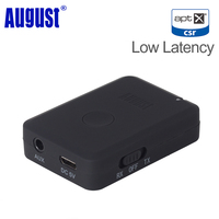 August Bluetooth Transmitter Receiver 2-in-1 Wireless 3.5mm Bluetooth Audio Adapter for Wired Smartphone PC TV aptX Low Latency