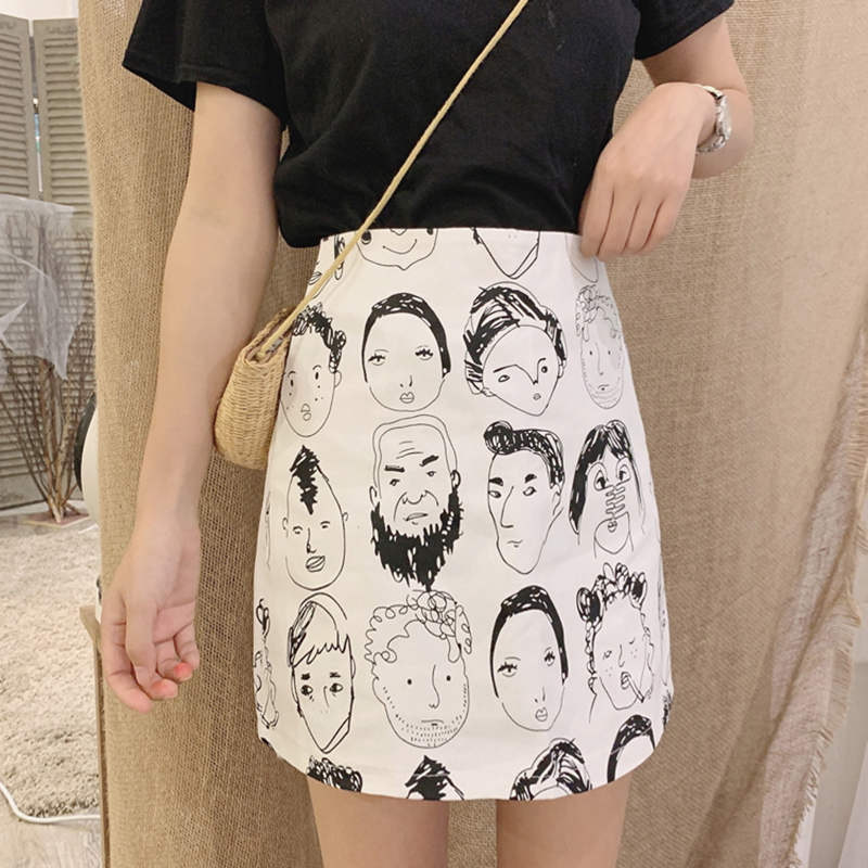Cartoon Print Mini Skirts Summer High Waist Pencil Skirt Harajuku Kawaii Warp Skirts Women Design A-Line Korean Slim Fit Sexy