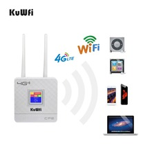 KuWFi 300Mbps راوتر لاسلكي 4G LTE واي فاي جهاز توجيه ببطاقة SIM فتحة & RJ45 ميناء الهوائيات الخارجية المزدوجة للمنزل