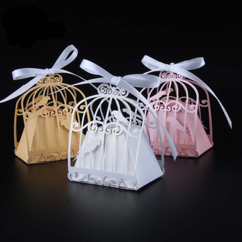 50pcs Laser Cut Birdcage Wedding Favor Boxes Love Birds Candy Box Baby Shower Favors With Ribbon Birthday Wedding Party Supplies