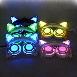 Image 5 - JINSERTA 2020 наушники для кошек, светодиодные наушники для кошек, светящиеся наушники, игровые наушники для взрослых и детей