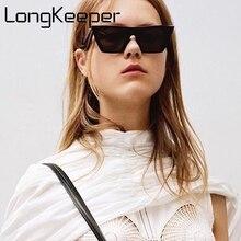 LongKeeper 2017 Brand Retro Cat Eye Sunglasses Women Big Flat Top Sun Glasses Acetate Clear Blue Frame Black
