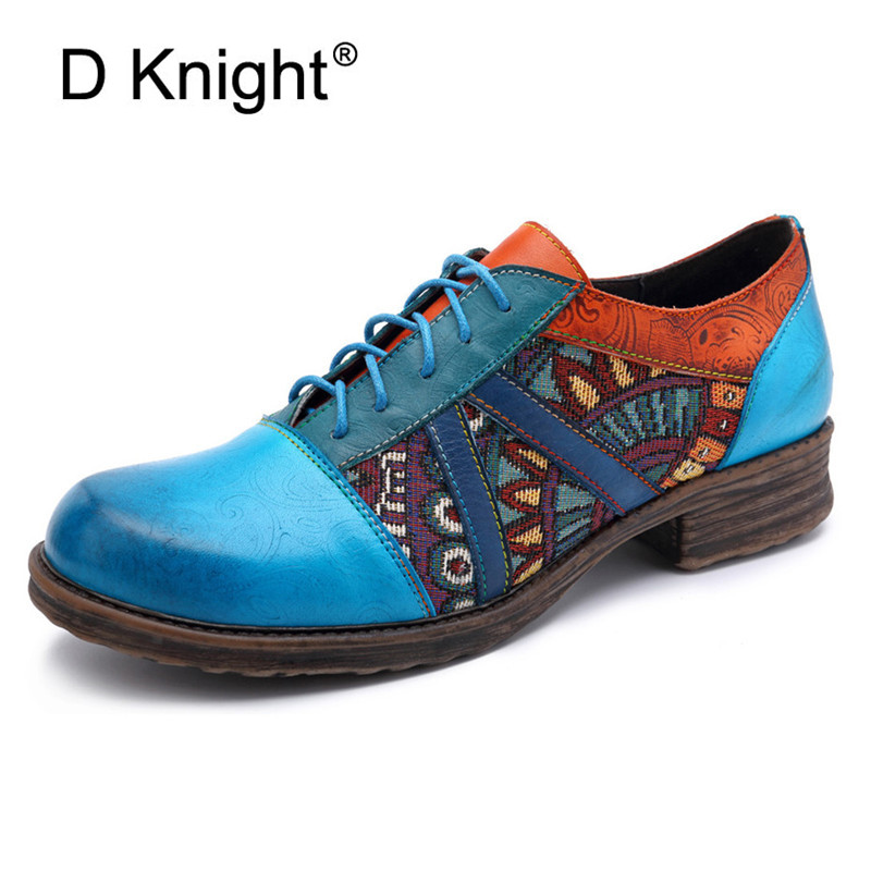 Genuine Leather Women's Flat Platform Shoes Lace up Blue Oxfords Round Toe Creepers Women 2019 Summer Spring Women's Brogue Shoe-in Women's Flats from Shoes    1