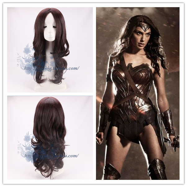 2017 Movie Wonder Woman Dark Brown Wig Diana Prince Cosplay Wig Gal Gadot Role Play wig with hair net цены онлайн