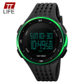 TTLIFE Outdoor Waterproof Sport Mens Watch PU Band Noctilucent Running Sports outdoor Men LED Digital Wrist Watches Alarm TS013
