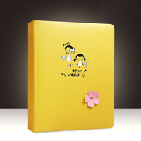 Large Photo Album Insert 6 7 Inch 200 Pockets Faux Leather Post Card Thick Storage Book 3D Flower Cover for Baby Journey