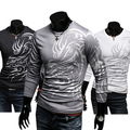 Men's Stylish Cotton Blend casual  Crew Neck Tops Dragon Totem Tattoo Printed Long Sleeve T-shirt Autumnhot