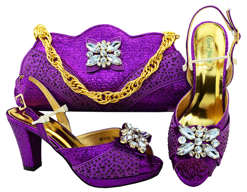 Ladies Italian Leather Shoes and Bag Set Purple Italian Shoes with High Quality Matching Bags African Super high heel MM1060 aidocrystal luxury handmade crystal sunflower high heel women italian shoes with matching bags