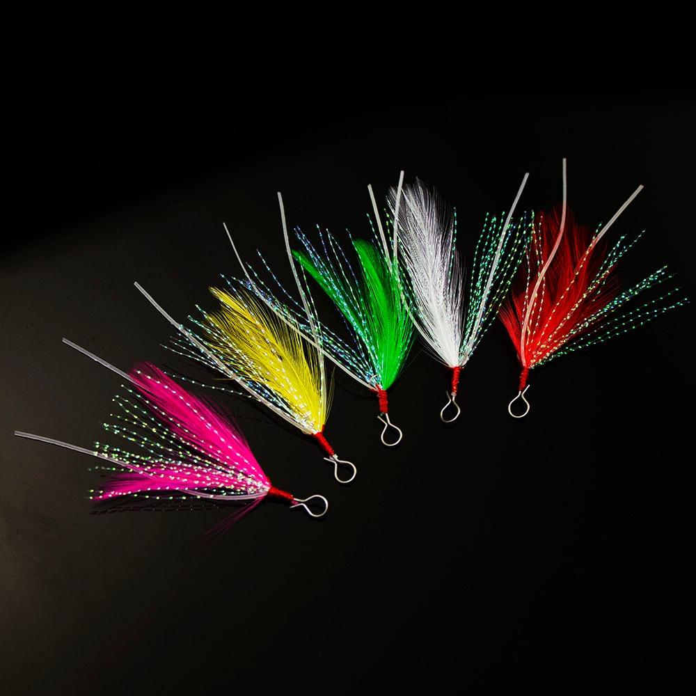 20pcs Feather With Luminous Skirt Tail, Hook Assist For Hardbaits, Jigging Lures, Swimming Jig, Softbaits, Metal Jig