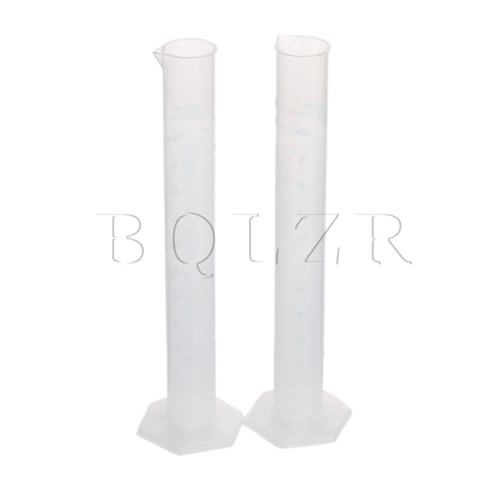 BQLZR 2pcs 100ml Double Graduated Lab Test Measuring Cylinder Beaker Flask Kitchen