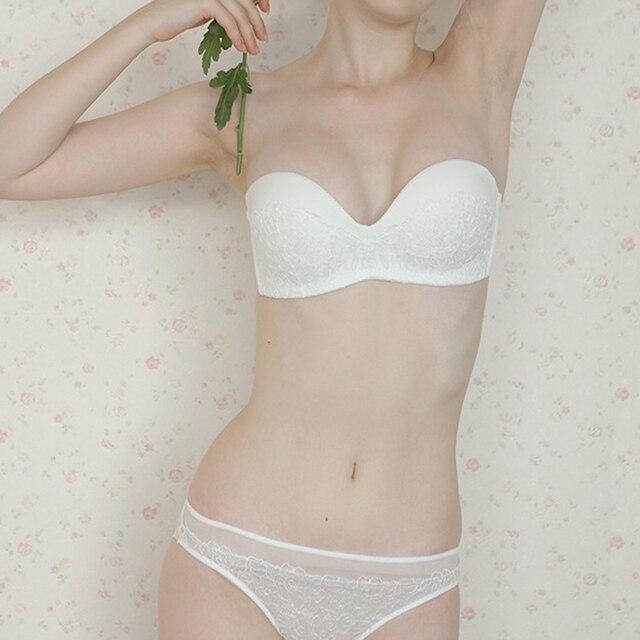 ملابس داخلية مثيرة للنساء مطرزة بالدانتيل 1/2 كوب ثخن مجموعة حمالة صدر رافعة B C كوب حمالات قابلة للتحويل حمالة صدر بدون خياطة ملابس داخلية