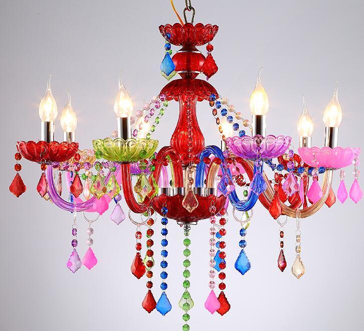 Chandelier color KTV bar lamp 0 <font><b>clothing</b></font> beauty salon princess bedroom European crystal chandelier