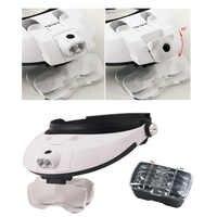 Headband 5Lens Binoculars Third Hand Magnifier Light Jewelry Repair Reading Magnifying Glass Dental Loupes 2.5x 1.0x 1.5x 2.0x