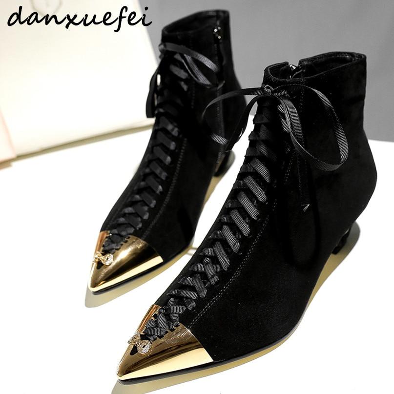 Plus Black Daim Marque Chaussons Cuir Talon gray En Véritable up Cheville 34 Automne 42 Taille Bas Bottes Lace Femmes Métal Toe La De Court Designer Chaussures 0aqr0S
