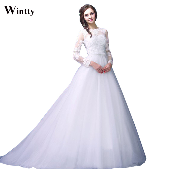 Wintty Real Sample Long Sleeve Fashion Vintage Style Lace Ball Gown Tail Type Trailing
