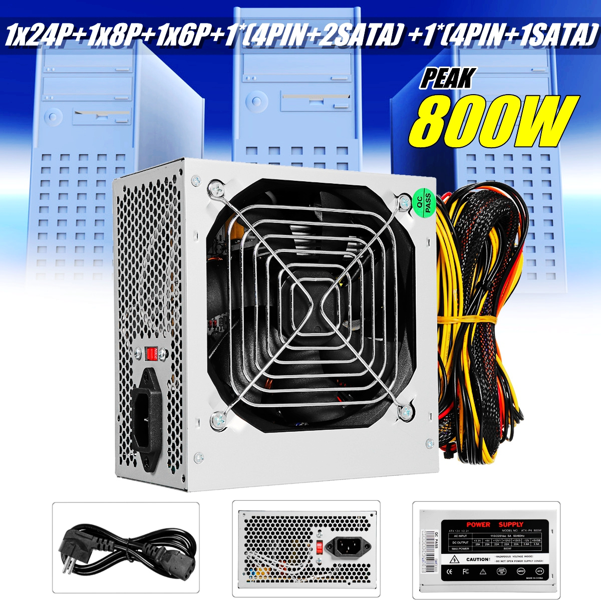 Silver Max 800W Power Supply PSU PFC Silent Fan ATX 24-PIN 12V PC Computer SATA Gaming PC Power Supply For Intel AMD Computer silver max 500w psu pfc atx 12v 24pin sata gaming pc power supply for intel amd computer power supply for btc