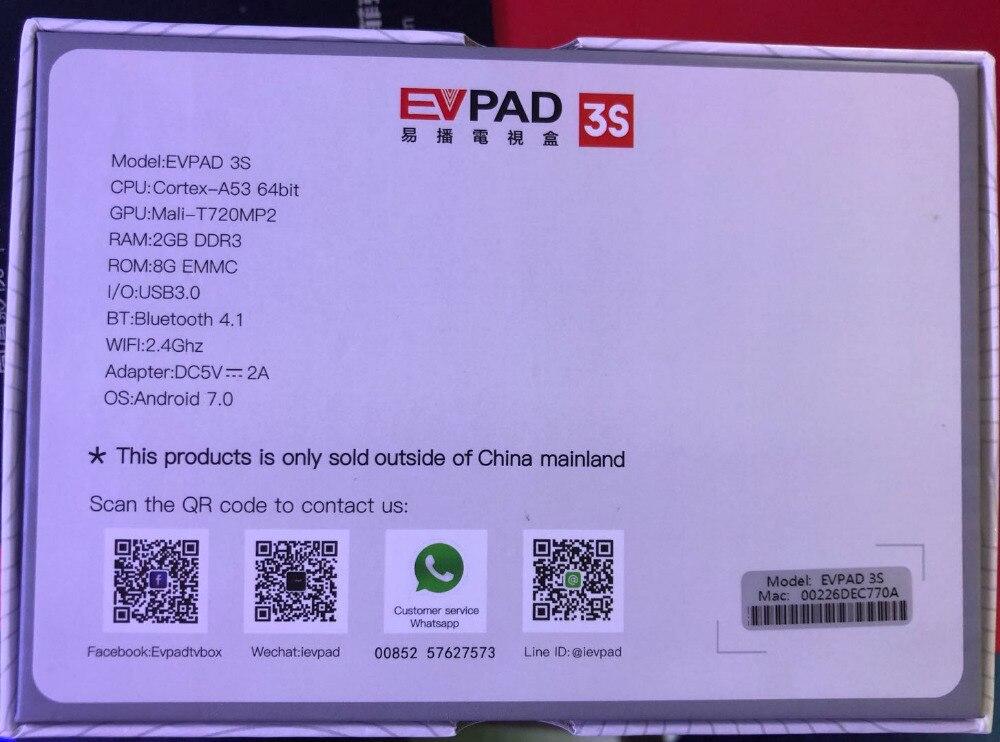 2019 IPTV EVPAD 3S 8GB 4K Smart Android TV Box Spain Korean
