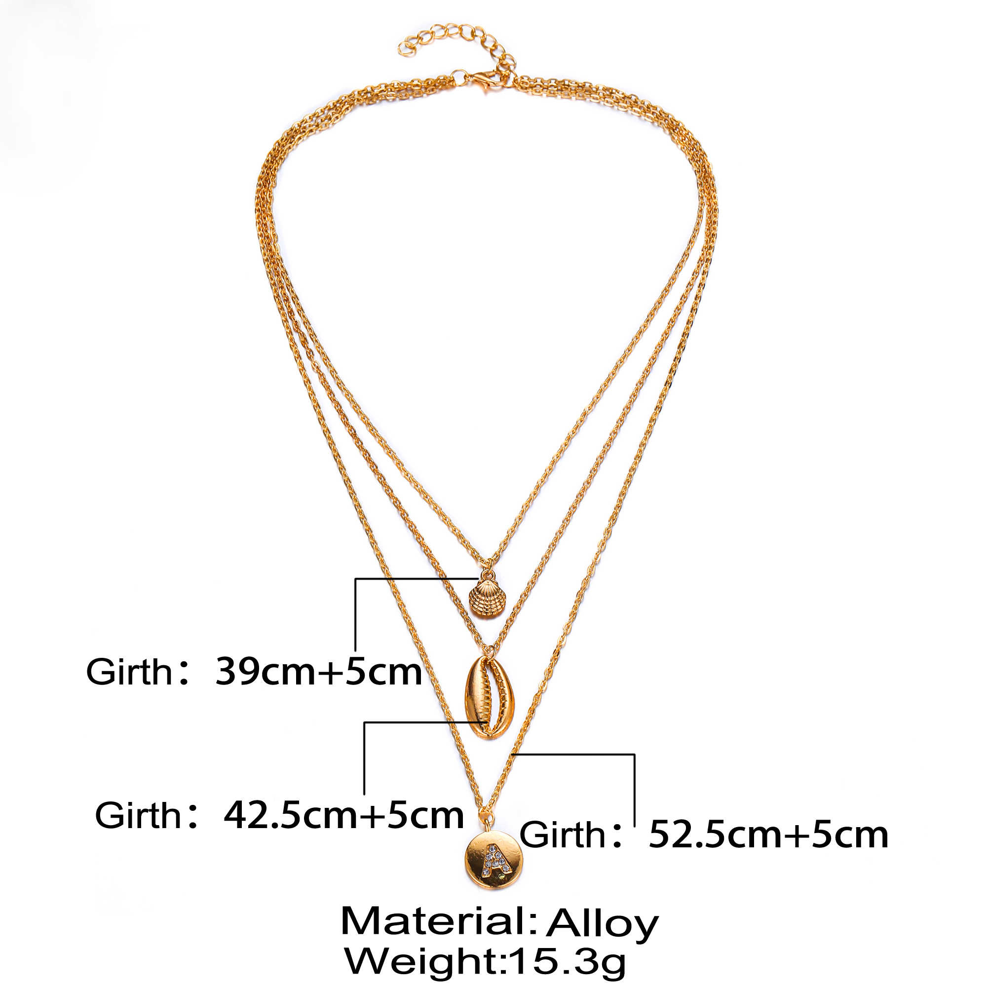 Poputton Gold Color Three Layered Chain Initial Necklace for Women Jewelry Multilayer Shell Pendant Necklace Colier Femme