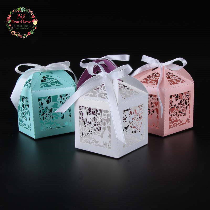 Butterfly Wedding Gift Card Box : 50pcs Laser Cut Butterfly wedding favor box candy box gift box wedding ...