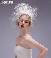 New Arrival Short Veil Beaded Lace Flower Pearls White Tulle Accessoire De Mariage Wedding Veils Big Hole Veil
