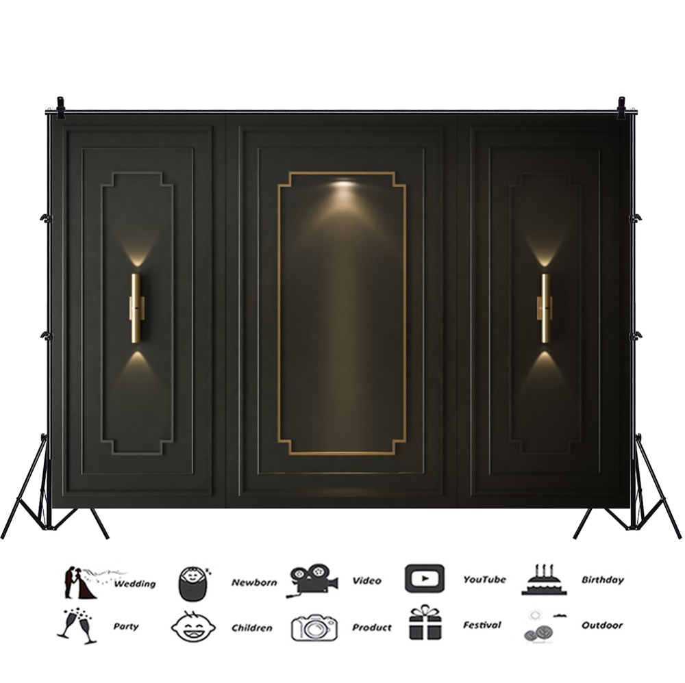 Laeacco Old Dark Chic Wall Light Wedding Party Light Baby Birthday Photo Backgrounds Photographic Backdrops For Photo Studio in Background from Consumer Electronics