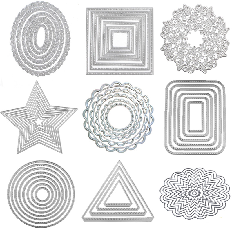 Metal cutting Dies Happy Love heart die cut lace circle rectangle oval frame background Craft dies for card making scrapbooking circle