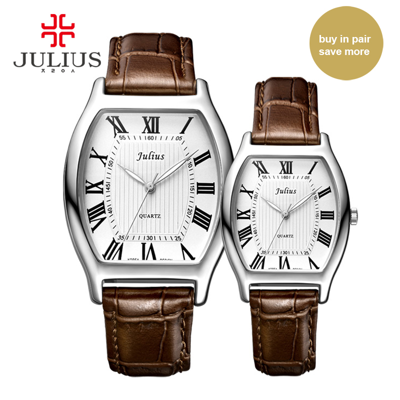 ФОТО Julius JA-703 Lover Couple's Watch Classic Roman Numbers Pair Watches for Valentine's Gift Tonneau Shape Leather Strap Watch Uhr