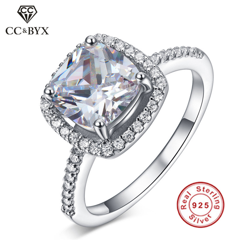 CC Real 925 Sterling Silver Vintage Rings for Women Engagement Ring Bridal Wedding Fashion Jewelry White Gold Color Accessories