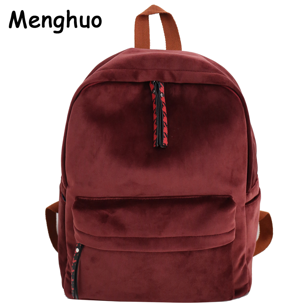 Menghuo 2018 Soft Suede Women Backpack Bag Girls Fashion New Wine Red Shoulder School Bags Travel Back Bags Mochilas Sac A Dos