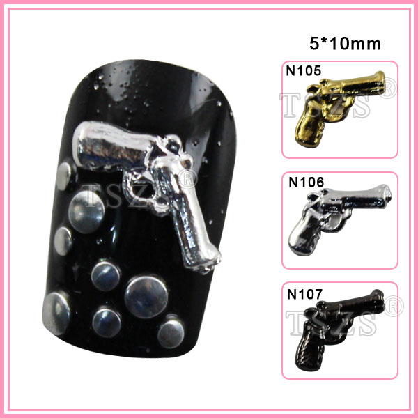 10pcs /lot 3D Nail Art Sparkly *Guns Pistols* Alloy Metal Nail Craft Decorations image