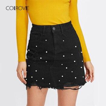 COLROVIE Pearl Detail Ripped Skirt Women Black Cut Hem Cute Denim A Line Skirts Fashion Spring Fall Girls Casual Skirt
