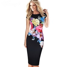 New Women Elegant Flower Floral Printed Ruched Cap Sleeve Ruffle Casual bridesmaid Mother of Bride Evening Party Dress LYQ412