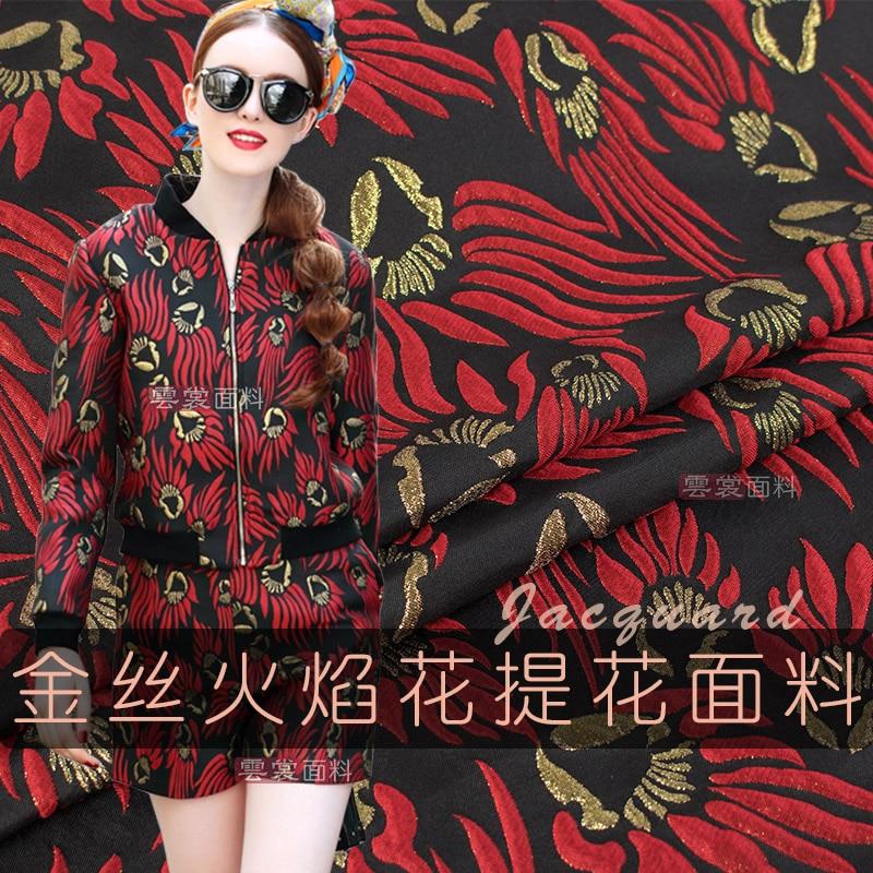 148 cm marque or jacquard tissu italien teint mode costume robe jacquard tissu jacquard robe tissu en gros tissu