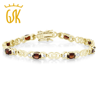 5 00 Ct Garnet 18K Gold Plated Sterling Silver Bracelet With Diamond Accent