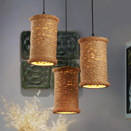 Retro Hemp Rope Pendant Lights Loft Vintage Lamp Hand Knitted Droplight Industrial For restaurant/bar home decoration