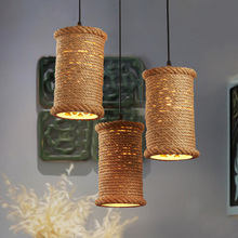 Retro Hemp Rope Pendant Lights Loft Vintage Lamp Hand Knitted Hemp Rope Droplight Industrial For restaurant/bar home decoration vintage magic beans round glass ball pendant lights lamp rope living bar hotel industrial led droplight loft dna suspension lamp
