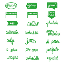 JC Metal Cutting Dies Scrapbooking Stencil Spanish Basic Letters Words Craft Cut Die for Card Making Handmade Album Paper Decor