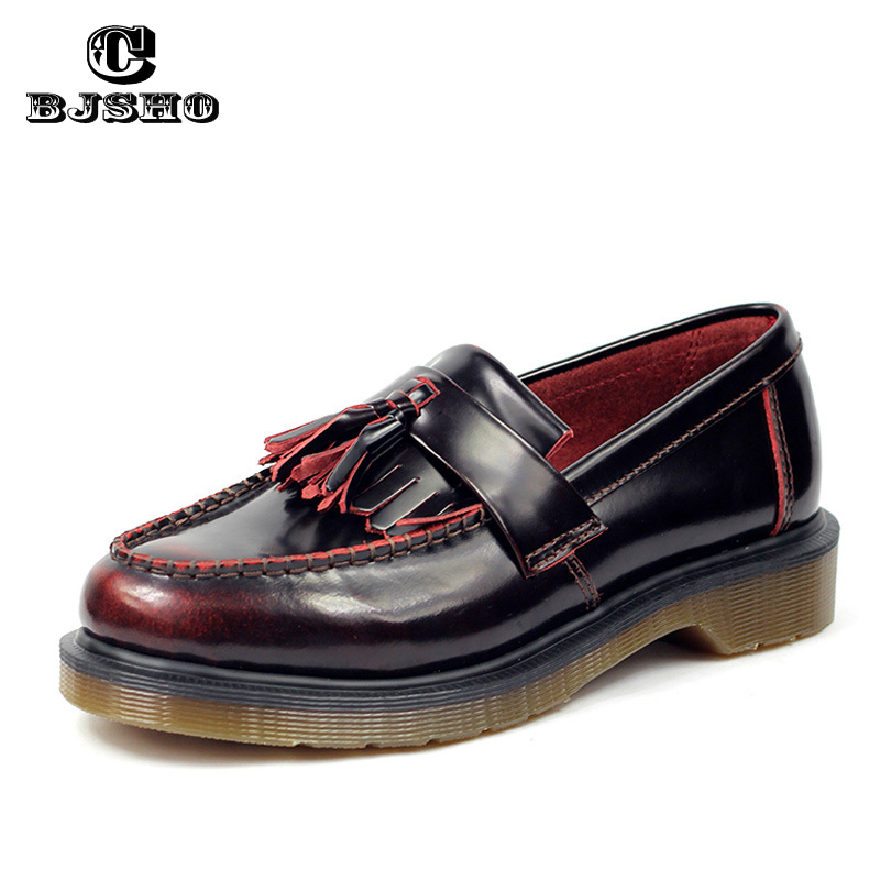 CBJSHO Brand Vintage Patent Leather Flat Creepers Platform Oxford Shoes For Women Fashion Brogues Shoes Tassel