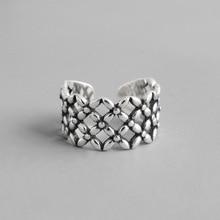 Vintage Old S925 Sterling Silver Open Ring Women Hollow Flower Grid Retro Style Lady Rings Bijoux Femme цена 2017