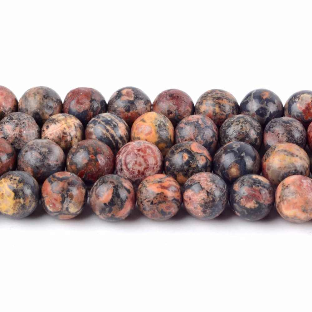 "4 6 8 10 12mm Natural Round Leopard Skin Jaspers Stone Loose Beads for Diy Bracelet Necklace Jewelry Making 15"" Minerals Beads"