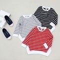 Camisetas de las muchachas de corea a los niños vendedores calientes ropa a rayas bebé de manga larga camisetas de moda para las niñas otoño niños camisetas