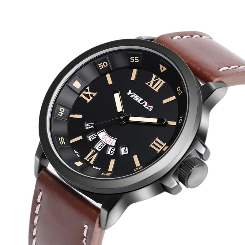 Japon Mouvement À Quartz Cool Armée Hommes Aviator Plein Air Véritable Bande  de Cuir Hommes Date-Jour À La Mode Montre-Bracelet dc3a8834cc9