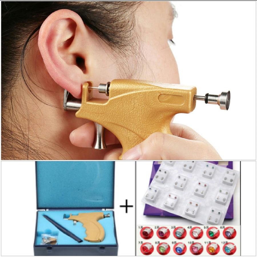 Professional Stainless Steel Ear Piercing Gun Tool With Marker Pen Mini Mirror No Pain Safety Earrings Tool Ear Piercing BodyTattoo Guns   -
