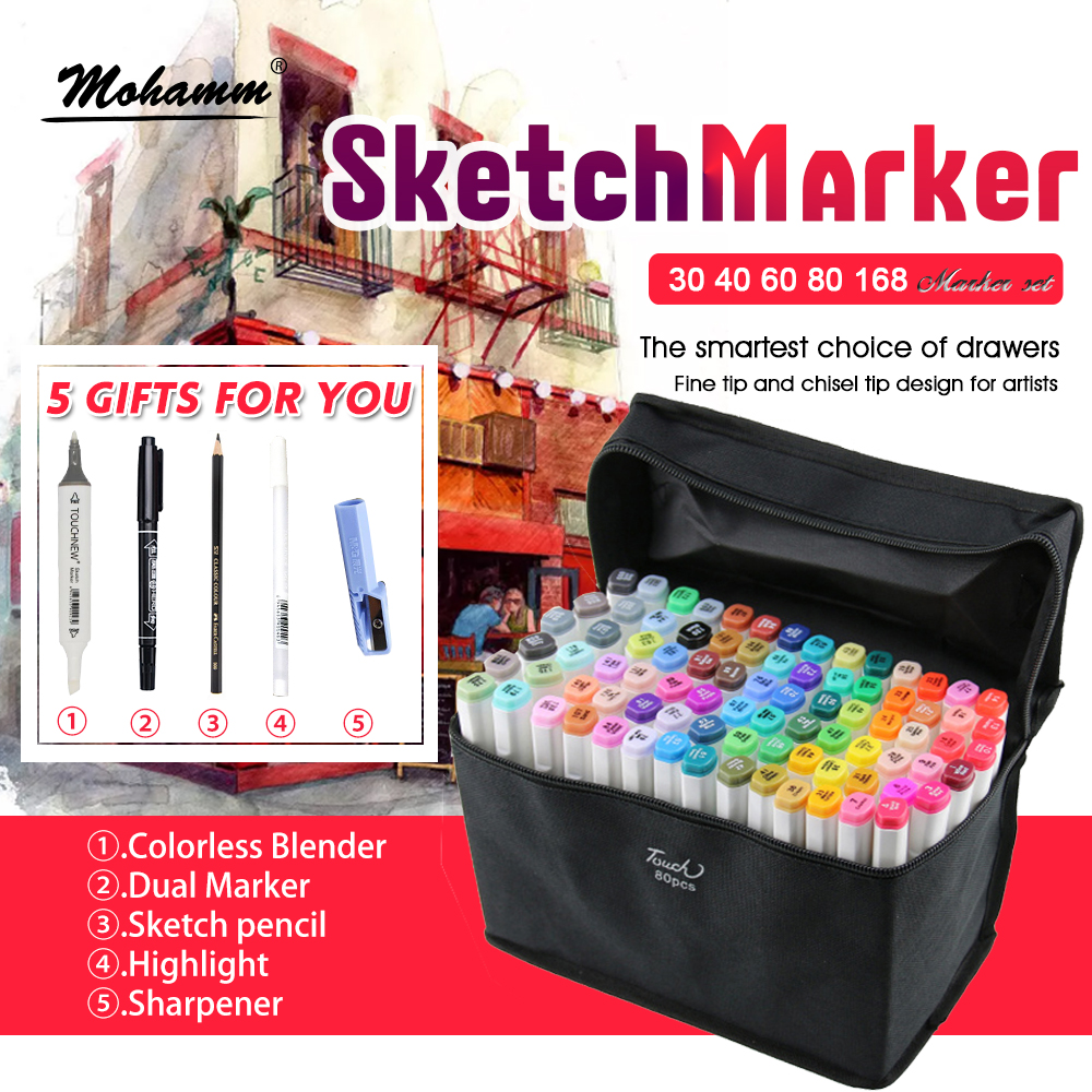 TOUCHNEW 30/40/60/80/168 Colors Sketch Markers Pen Alcohol Based Pen Marker Set Best For Drawing Manga Design Art Supplies touchnew artist double headed sketch marker set 30 40 60 80 colors alcohol based manga art markers for drawing design supplies