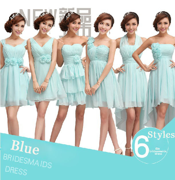 Free Shipping 6 Designs Blue Homecoming Dresses Bridesmaid Wedding Party Guest Wear Formal Prom Short One