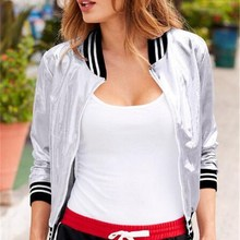 Metal Silver Autumn Jacket Women Stripe Stand Collar Slim Short Female Casual Bomber