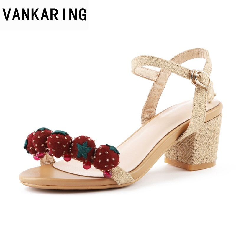 VANKARING 2018 high heels ankle strap women sandals open toe shoes strawberry decorate flat with sandals