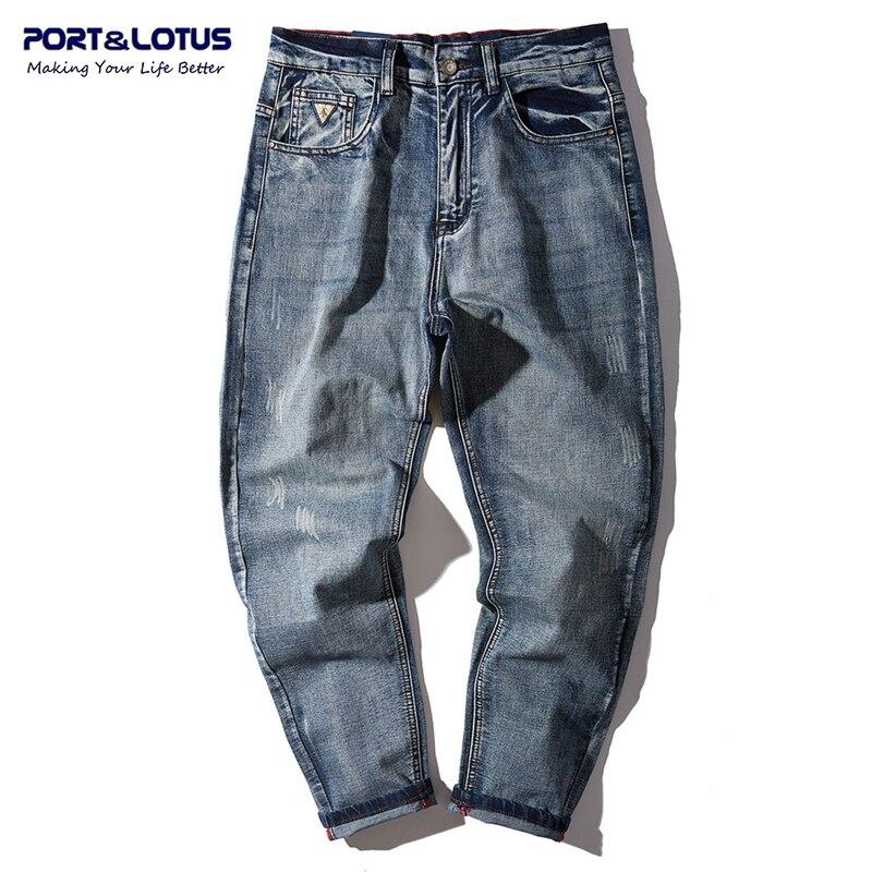PORT LOTUS Harem Denim Jeans Men Cotton Loose Pants Brand Clothing Long Pants Men s Jeans