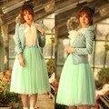 FANALA 2017 Long Skirts  Lace Princess Skirt Fairy Style 5 Layers Tulle Bouffant Skirt 4Colors